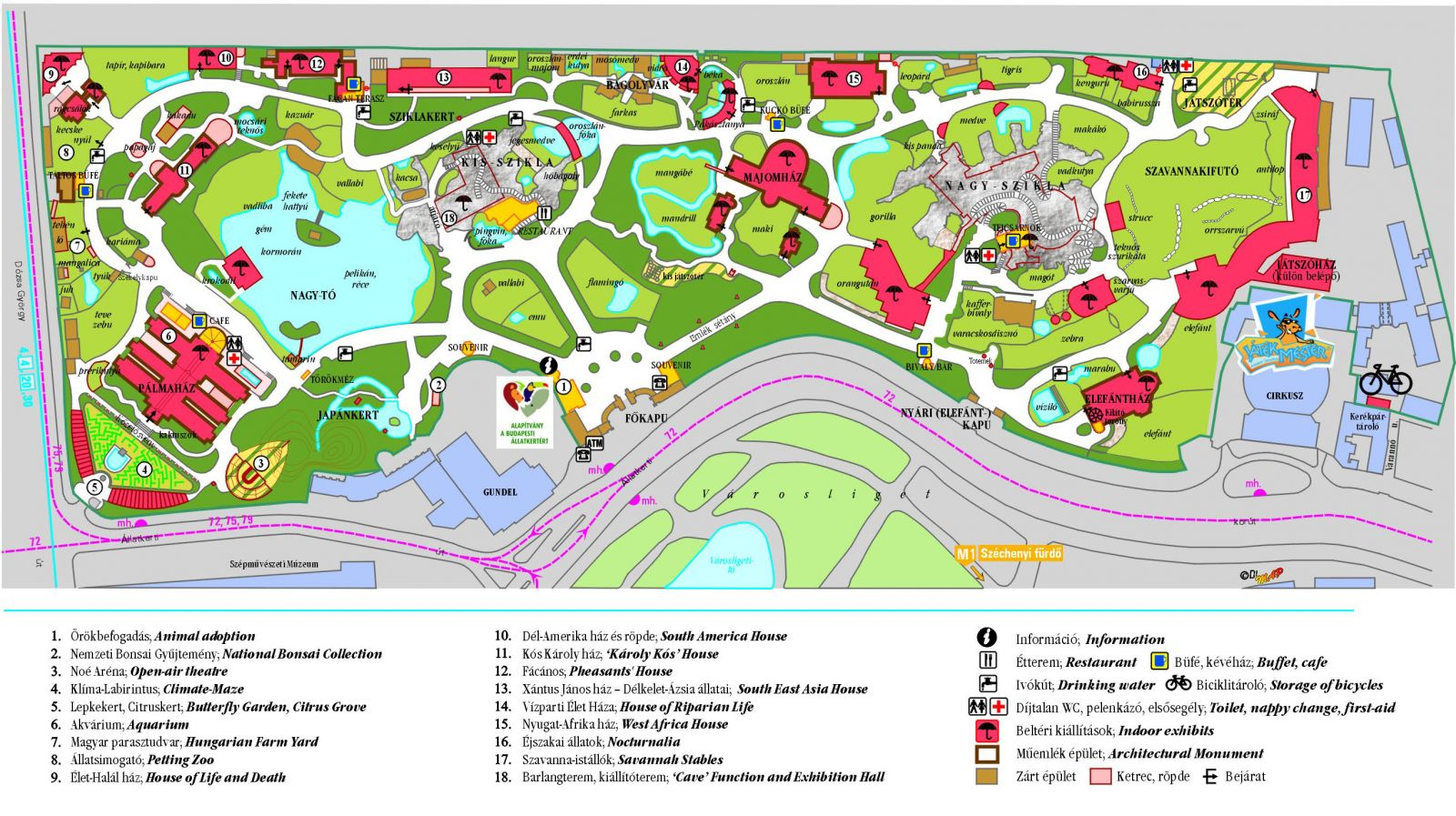 budapest füvészkert térkép Budapesti Állatkert , Budapest   Helyszín, Belépő / Jegyárak  budapest füvészkert térkép