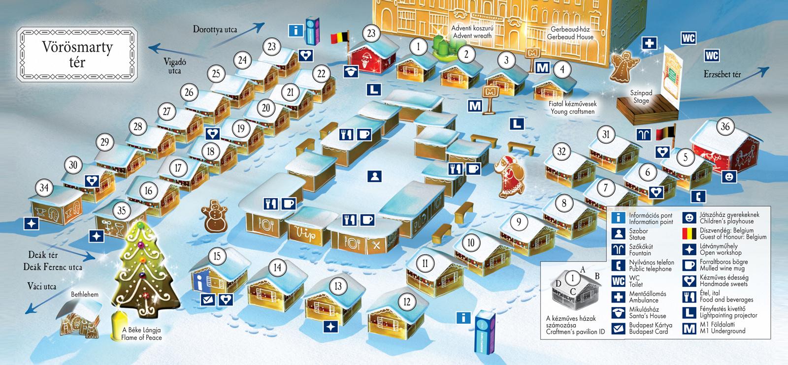 budapest térkép vörösmarty tér Budapesti Karácsonyi Vásár 2012, Budapest   Programok, Helyszín  budapest térkép vörösmarty tér